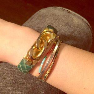 Vita Fede green faux snakeskin bracelet 24k plated
